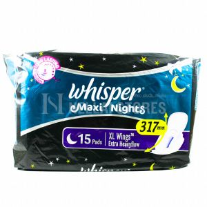 Whisper Maxi Nights XL Wings - 15 Pads - Extra Heavy Flow 317mm
